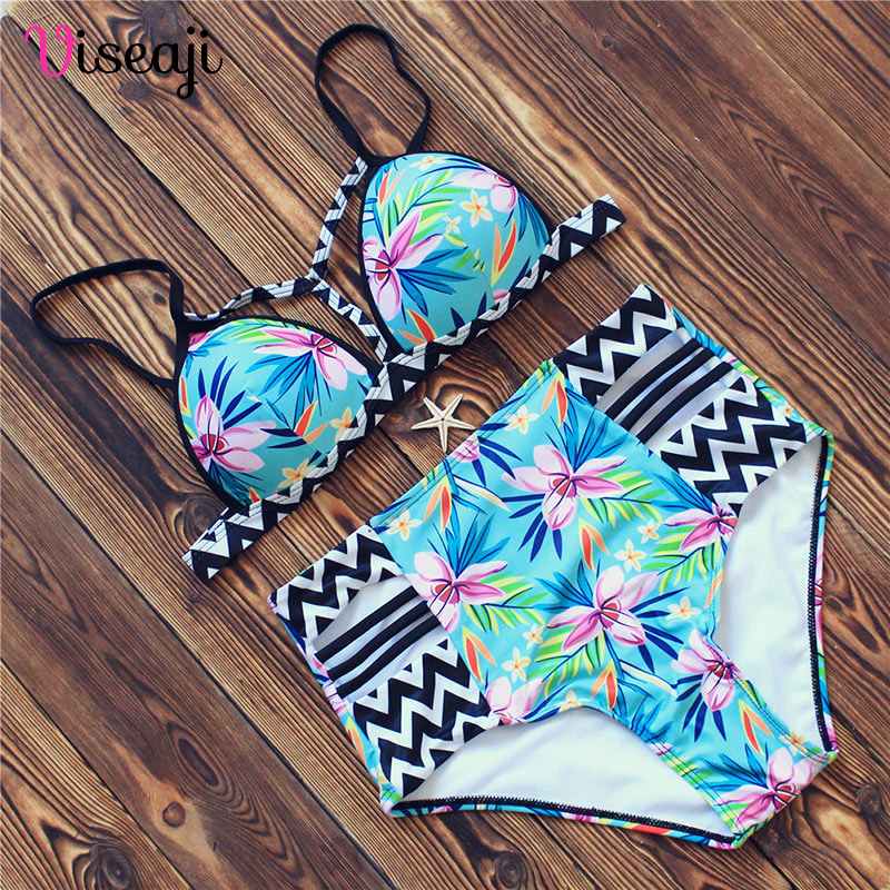 High Waist Swimsuit Women Bikini 2018 Brazilian Bikini Set Push Up Swimwear Female Swim Beach Wear Floral Bathing Suit Biquini цена и фото