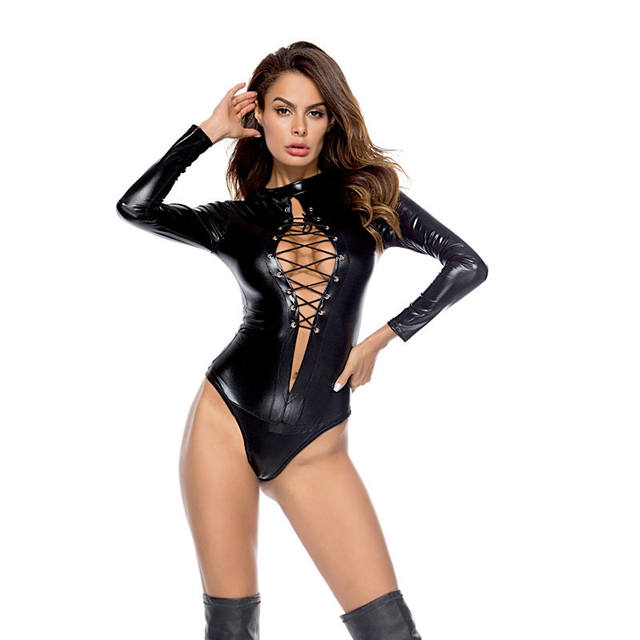 Sexy PU Leather  bodysuit