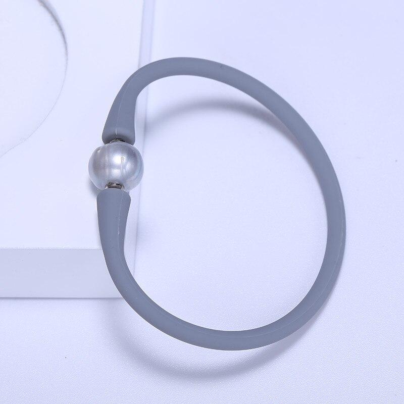 f42810ea40aa8 DAIMI New Simple Gray Silicone Bracelet Real Gray Freshwater Pearl Bracelet  Sporty Health Bracelet Waterproof 18-20cm