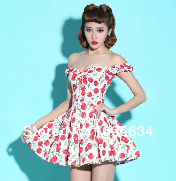 Free Shipping Off Shoulder 50s Rockabilly Pin Up Style Cherry Summer
