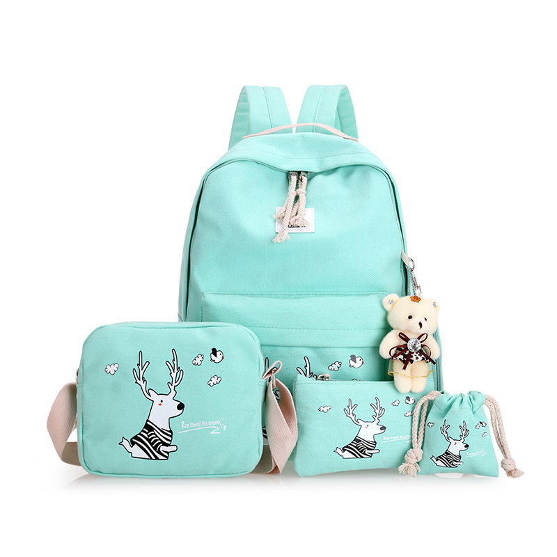 все цены на 3pcs set Women Printing Backpack School bags for Teenage Girls Canvas Shoulder bags Vintage Female laptop bag Backpacks mochilas