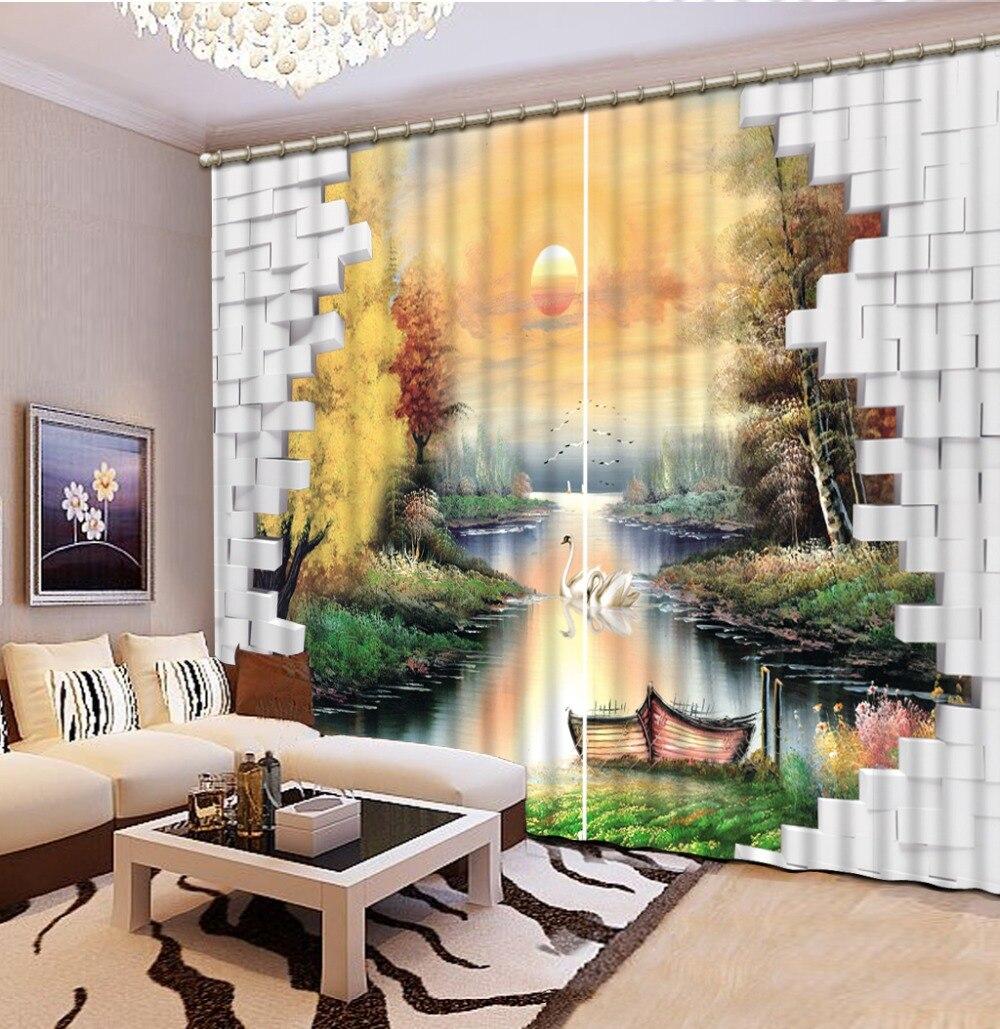 3D rideau impression Blockout Photo salon chambre paysage peinture cygne occultant rideau maison fenêtre