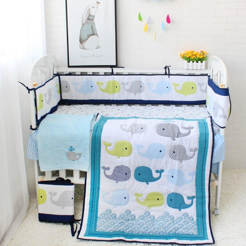 8pcs Baby Bedding Set For Newborns Cute Cartoon Pattern Baby Bed Linens Bumper Quilt Fitted Sheet