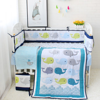 8pcs Baby Bedding Set For Newborns Cute Cartoon Pattern Baby Bed Linens Bumper/Quilt/Fitted Sheet/Bed Skirt/Blanket