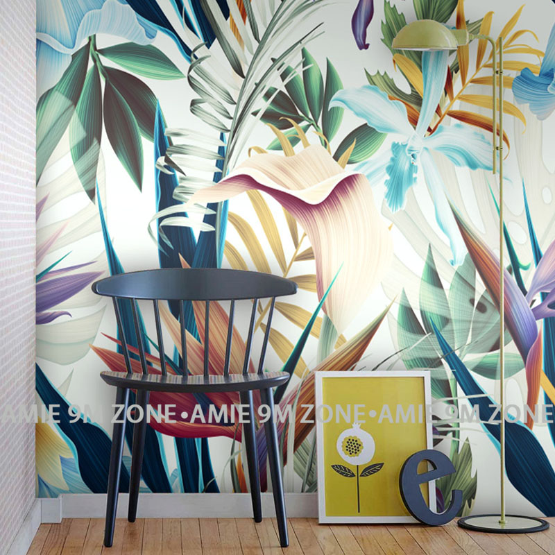 hot tropical palm leaf and flowers art mural wallpaper for living room dinning room wall decor free shipping customer's size