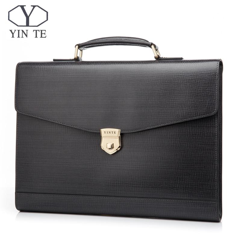 YINTE Leather Briefcases Men Messenger Handbag Laptop Tote Office Bag Lawyer Teacher Business Hard Bags Portfolio T8570-4