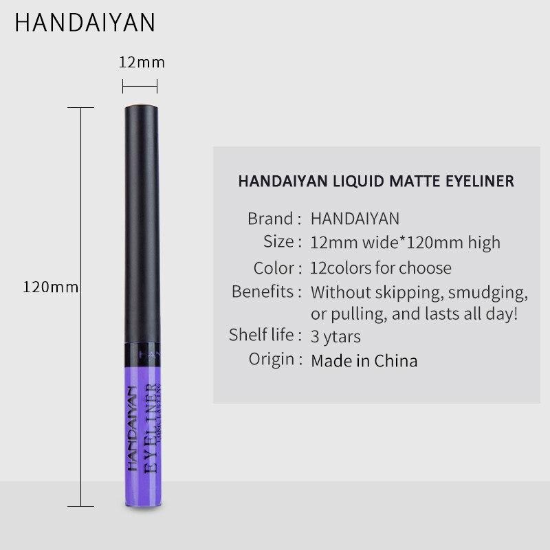 Handaiyan Matte Liquid Eyeliner Eyes Makeup Waterproof Liner Pour Yeux White Blue Purple Eye Liner Liquid For Party Cosmetics Eyeliner Beauty Essentials