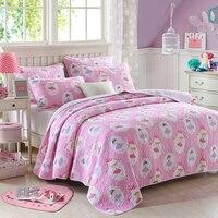 Bambini dancing girl estate trapunta rosa cucita letto copriletto dimensione doppia full size 2 pz/3 pz biancheria da letto stampata imposta 100% cotone