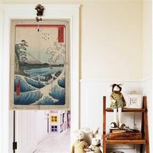 XIAOKENAI Cotton Linen Tube Rod Curtain Japanese Style Doorway For Kitchen Study 85x120cm Home Decor Blankout