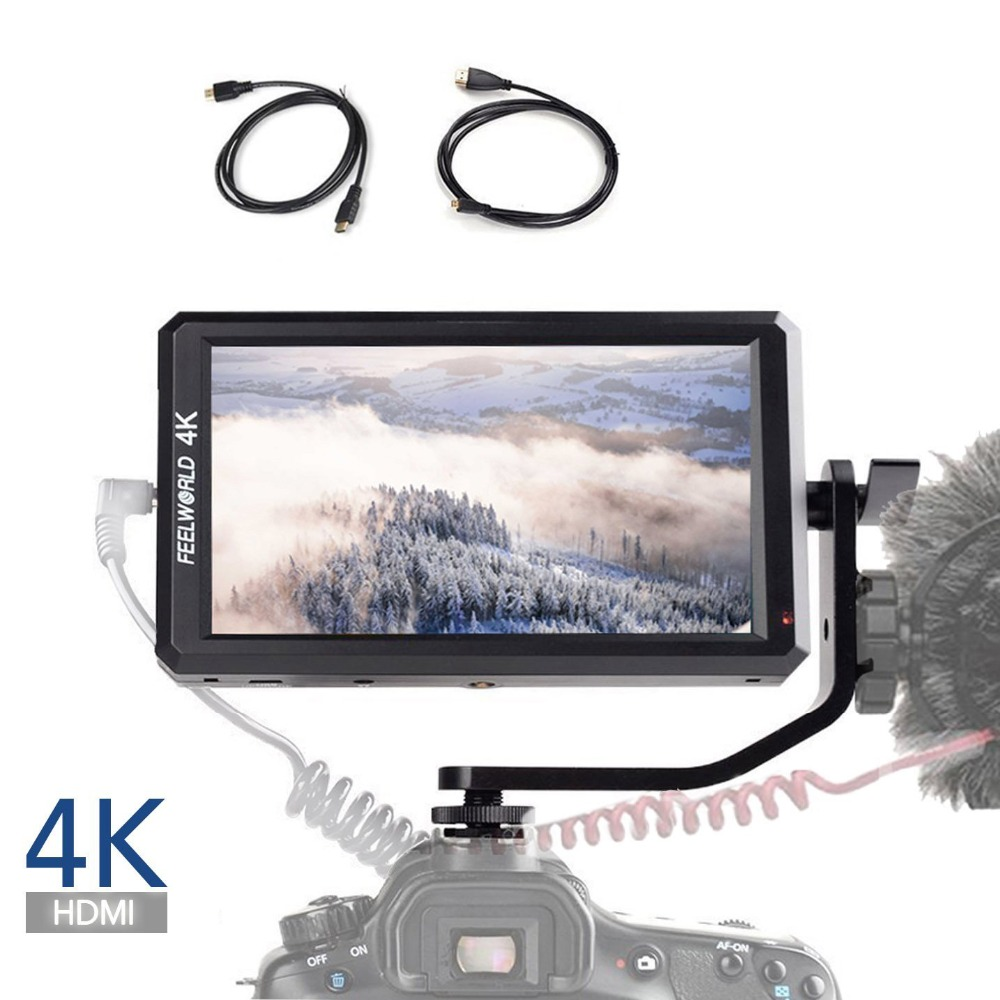 Feelworld F6 5.7 Inch Full HD On-Camera Monitor with Tilt Arm 4K HDMI Input DC 8V Power Output for DSLR Mirrorless Camera
