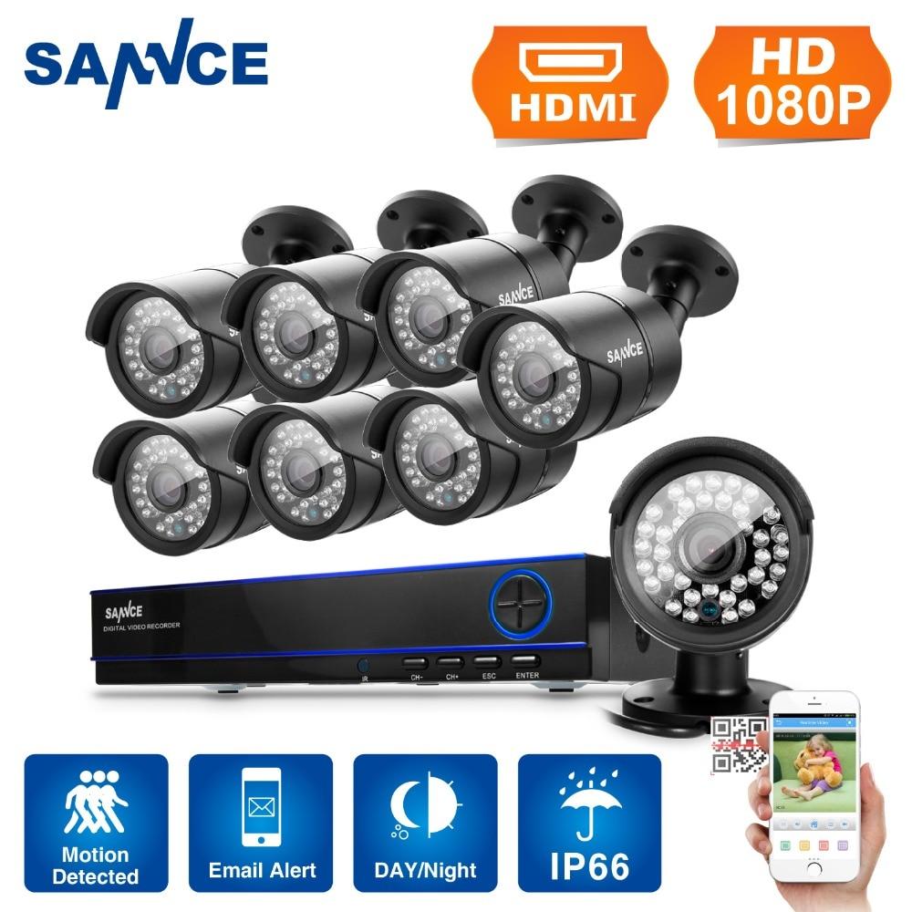 SANNCE 8CH Email Alert Surveillance Kits 1080P AHD DVR 8PCS 2 0MP 3000TVL IR Night Vision