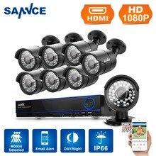 SANNCE 8CH Email Alert Surveillance Kits 1080P AHD DVR 8PCS 2.0MP 3000TVL IR Night Vision Security Camera Video CCTV System