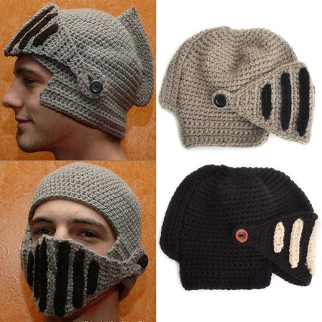 knit balaclava cap neck warmer Winter Hats For Men women Spartan Warriors  Hat Roman Warrior Masked Knitwear Knit Cap ea8dc70a936