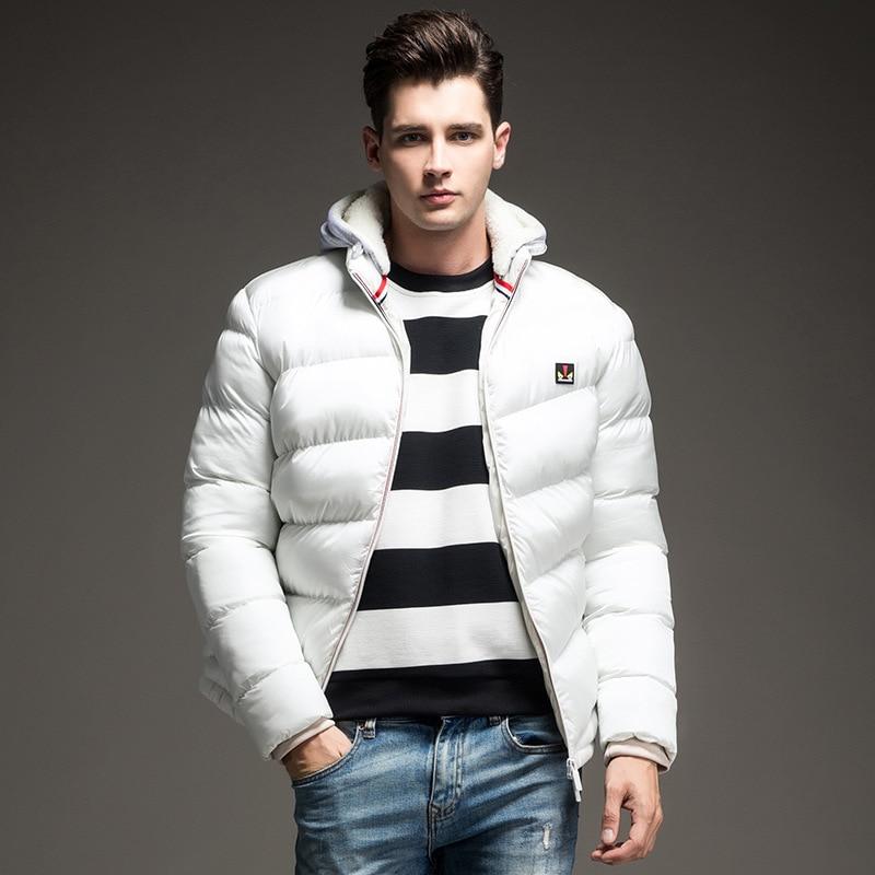 2019 남성 다운 재킷 단색 색상 가을 / 겨울 자켓 남성 두건 두꺼운 의류 남성 캐주얼 지퍼 외투