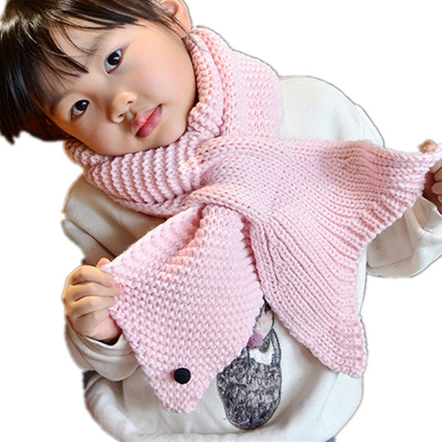 Lovely Mermaid Knitted Scarf For Girls Fashion Ring Scarves Children