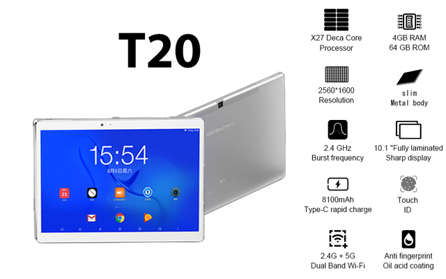 Teclast T20 Helio X27 Deca Core 4GB RAM 64G Dual 4G SIM Android 7.0 OS 10.1 Inch Tablet 1