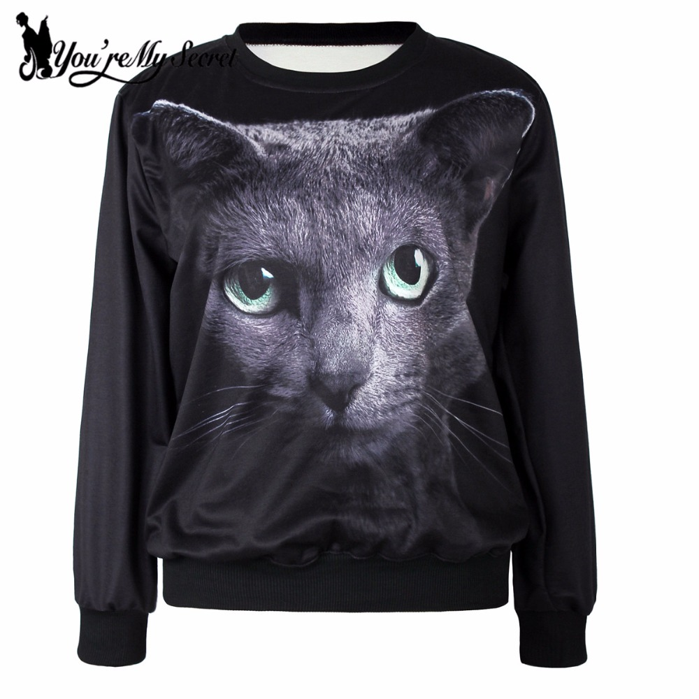 [You're My Secret] New Arrival Autumn Moleton Feminino Black Eyes Cat  Digital Print Hoodies Women Sweatshirt Sleeveled Suit