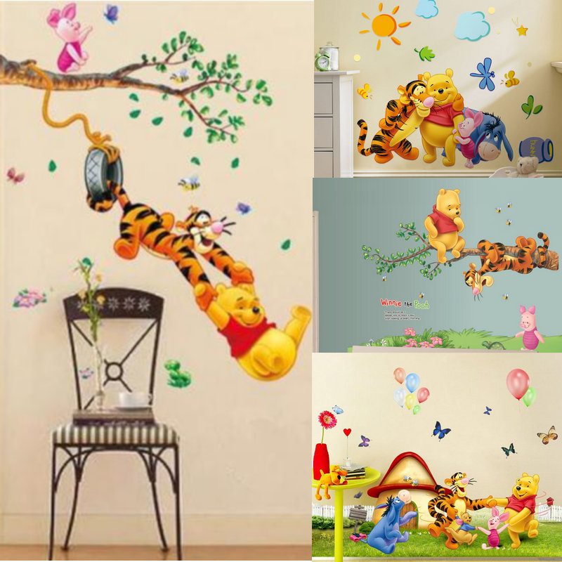 New Winnie The Pooh Tigger Animal Cartoon Vinyl Friends Wall Stickers For Kids Room Kindergarten Classroom Decorative Sticker(China)