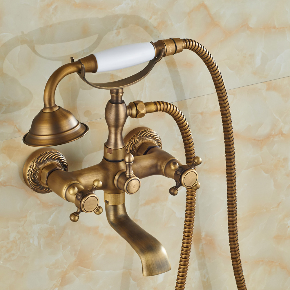 Wholesale And Retail Promotion Antique Brass Wall Mounted Bathroom Tub Faucet Dual Cross Handles W/ Hand held Sprayer dual cross handles antique brass bathroom tub faucet with hand held shower sprayer