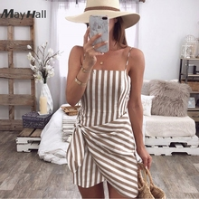 MayHall Stripe Print 2018 Summer Dress Women Sweet Cute Asymmetry Mini Dresses Sexy Tie up Backless Robe Femme Ete MH189