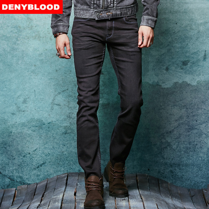 ФОТО 2016 Winter New Arrival High Stretch Black Denim Mens Jeans Slim Straight Stonewashed Jeans Casual Pants 145030-1