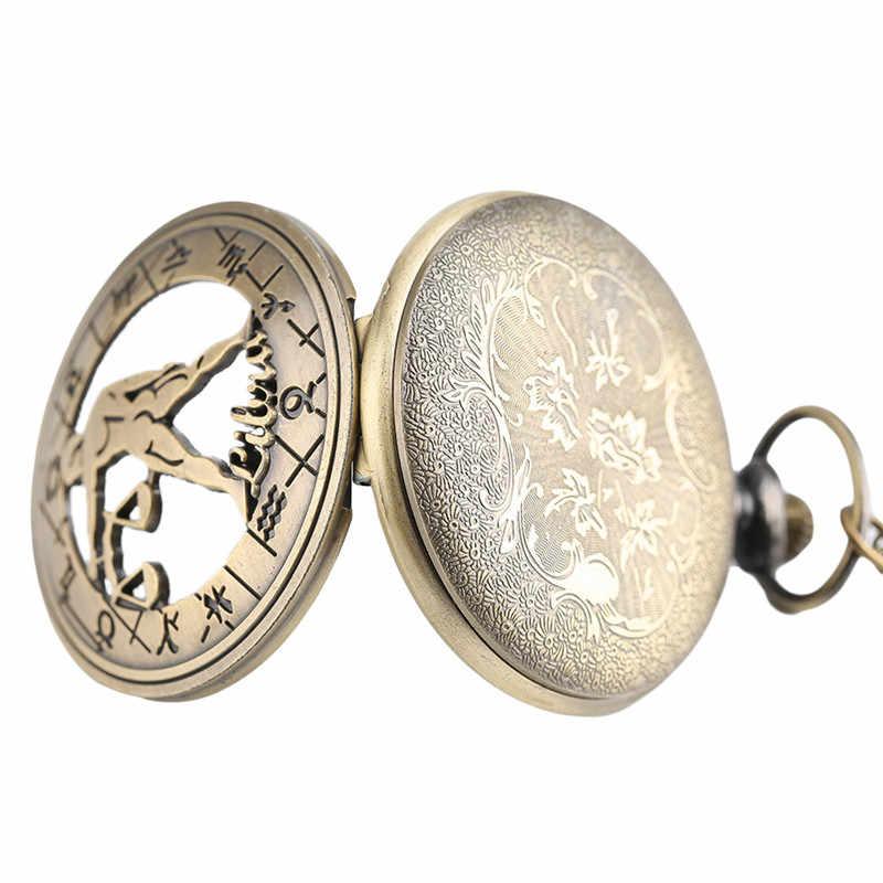 חלול חצי האנטר חם Mens שעון כיס שרשרת תליון גלגל המזלות נשים קוורץ שעונים מתנת יום הולדת