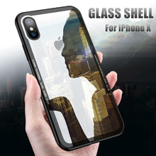 Tempered Glass Back Case For iPhone X , Luxury Soft Silicone Hard Glass Protective Case for iPhone 7 6 6S 7 8 Plus Cover Coque protective plastic back case tempered glass screen guard set for iphone 6 4 7 translucent white