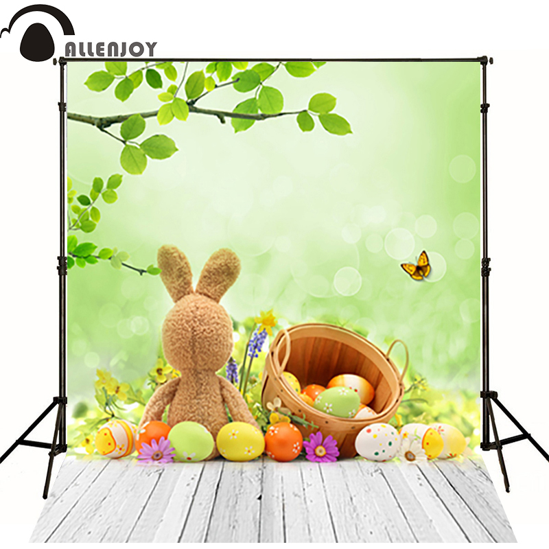 Allenjoy easter basket photography backdrops wood board spring background photography background toy Butterfly