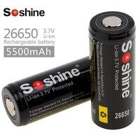 2 шт./лот 3,7 V 5500mAh 26650 литий-ионная аккумуляторная батарея 26650 с защищенной печатной платой для светодиодного фонарика
