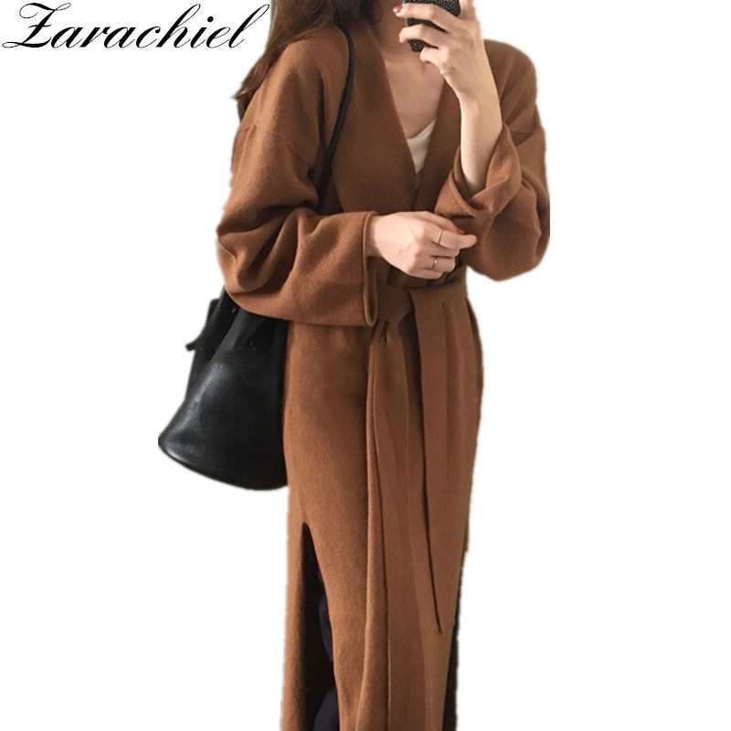 Ladies Loose Cardigan Sweater 2018 Winter Women Solid Knitted Long Cardigan Kimono Split Overcoat Soft Sweater With Belt Outwear