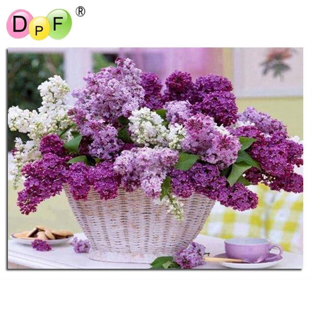 Diamond painting cross stitch Purple flower baskets mosaic&Diamond embroidery&Square full pattern rhinestone kits for needlework