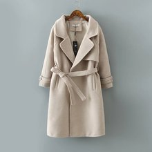 New Autumn Winter Long Coat With Belt Thickening Wool Outwear Thick Warm Jacket Parka Cape Femme