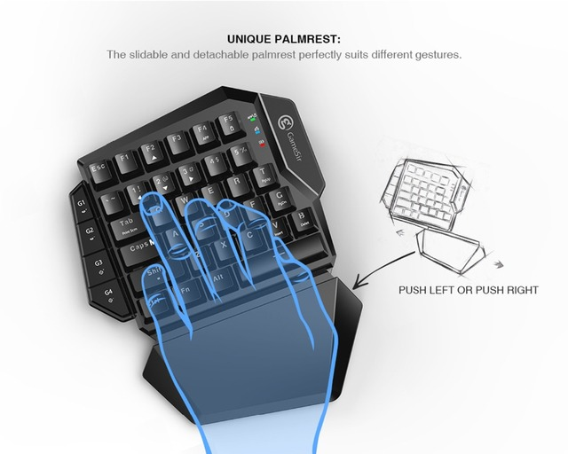 GameSir VX Single Hand  2.4G Wireless Bluetooth Gaming Keyboard with Adjustable DPI Wired Mouse For Xbox/PS3/PS4/Switch/PC