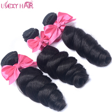 USEXY HAIR Loose Wave Human Hair Weave 3 Bundles Indian Hair Weave Natural Color Can Be Dyed Non Remy Hair Extension