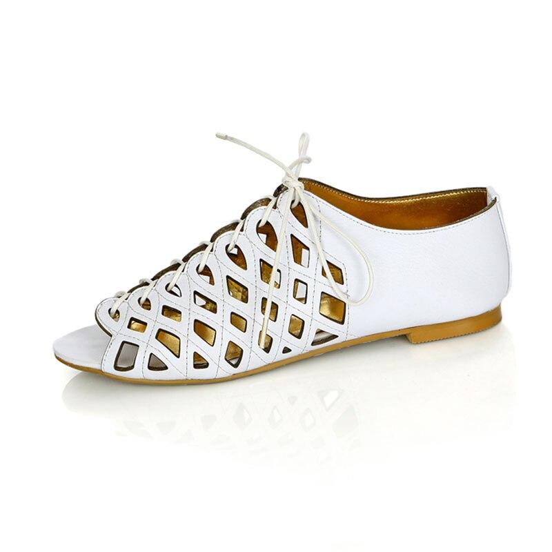 Sandales Blanc Simple Creux Taille Véritable Femmes Appartements 43 Loisirs 34 Quotidienne Toe D'été Taoffen Up Cuir Peep Chaussures En Lace xqwBwH0