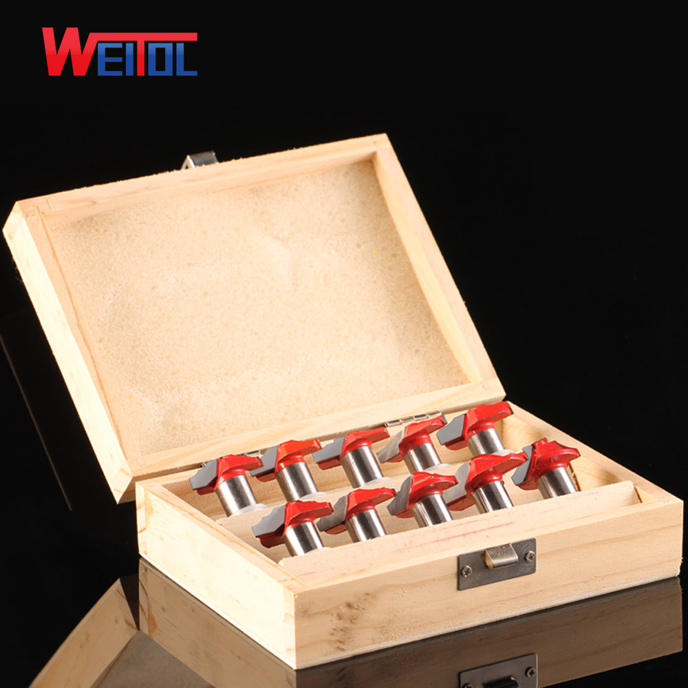 Weitol 1 box 12.7 mm wood cutting tools CNC Carbide tip Slotting bits CNC engraving machine cabinet pattern door router bit set duoble heads juice dispenser slush machine 15l 2