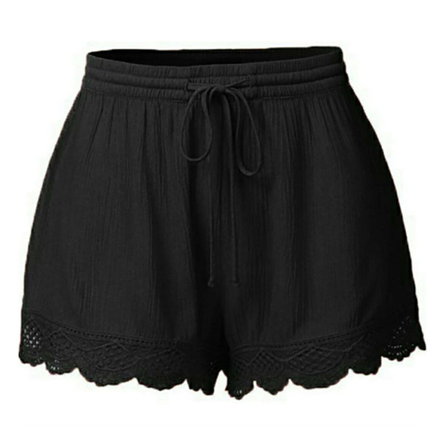 Women's Lace Trim Drawstring Yoga Shorts 5 Colors S-5 XL