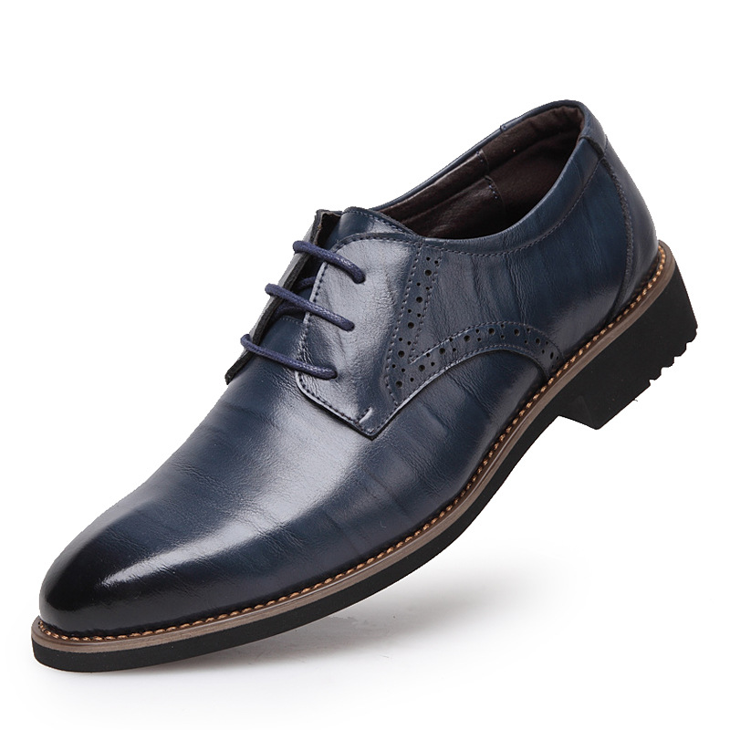 ФОТО 2016 Spring Autumn Oxford Men Shoes Height Increasing Lace Up Causal Shoes Men Black Business Pointed Toe  Breathable Shoe 38-45