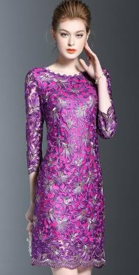 Новое осеннее модное платье, женское платье с круглым воротником, с рукавом в семь точек, расшитая накидка, вечернее платье фиолетового цвета, размер M-4XL - Цвет: Purple