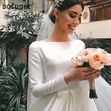 2019 Muslim Satin Wedding Dresses Long Sleeves A-Line White Gown Saudi Arabic Bride Dress Bridal