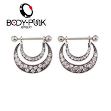 BODY PUNK Antique Nipple Shiel Piercing Ring 316L Stainless Steel Shiny Dimond  Sexy Jewelry for Women 14g 2Pcs