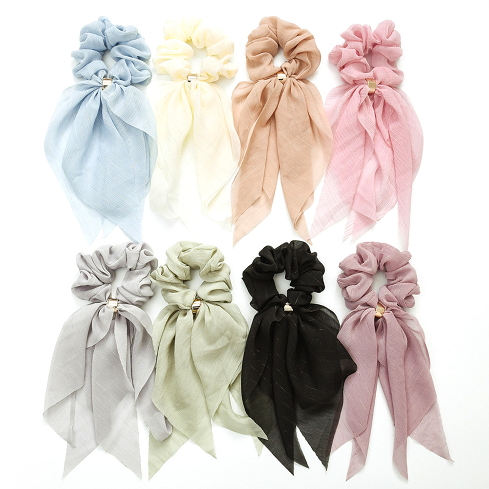 Double Layer Bow Chiffon Long Ribbon Bands Scrunchie Women Girls Hair Scarf Solid Buckle Elastic Rubber Bands Hair Accessories