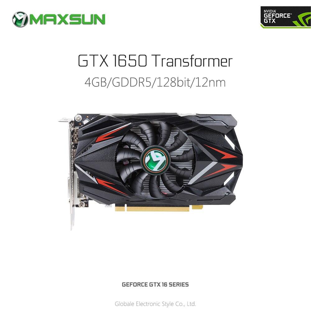 Original MAXSUN Nvidia GeForce GTX 1650 Transformer 4G Graphics Card For Gaming 1485MHz GDDR5 DP HDMI DVI Map