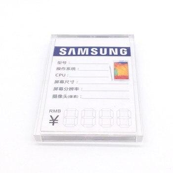 30 PCS Klar 3C shop Acryl Schildhalter Preis Tag Halter Stehen Telefon Werbung Stehen Für Samsung Huawei Android Telefon shop