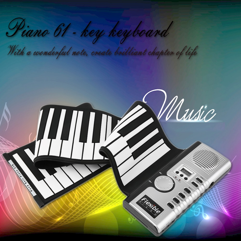 TSAI Piano Electronic Black and White 61 Keys Universal Flexible Roll Up Soft Keyboard Piano for