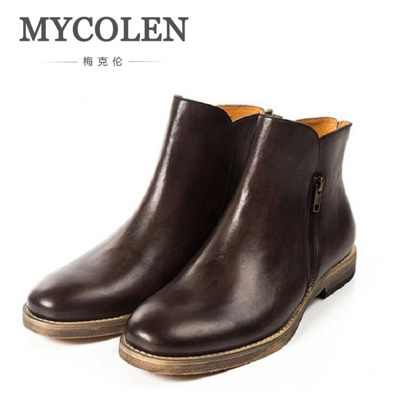 MYCOLEN Winter Shoes Men's Ankle Boots British Style Genuine Leather Chelsea Boots Classic Mens Footwear Retro Sapato Masculino цены