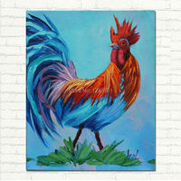 Rooster Wall Decor Cock Oil Painting Kitchen Art Gift Unique Colorful Hand Painted Canvas Animal Art