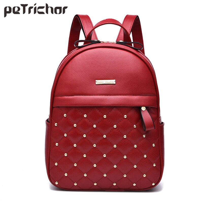 Petrichor Plaid Geometric Rivets Red Backpack Female PU Leather Women Shoulder Bags Girl School Bag Backpack Small Purse Ladies цена в Москве и Питере