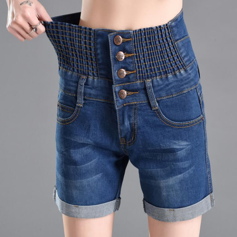 Plus size 2018 Summer Women Jeans   Shorts   Slim High Waist Single-breasted Button Pockets   Shorts   Casual Female Denim   Shorts   s1699