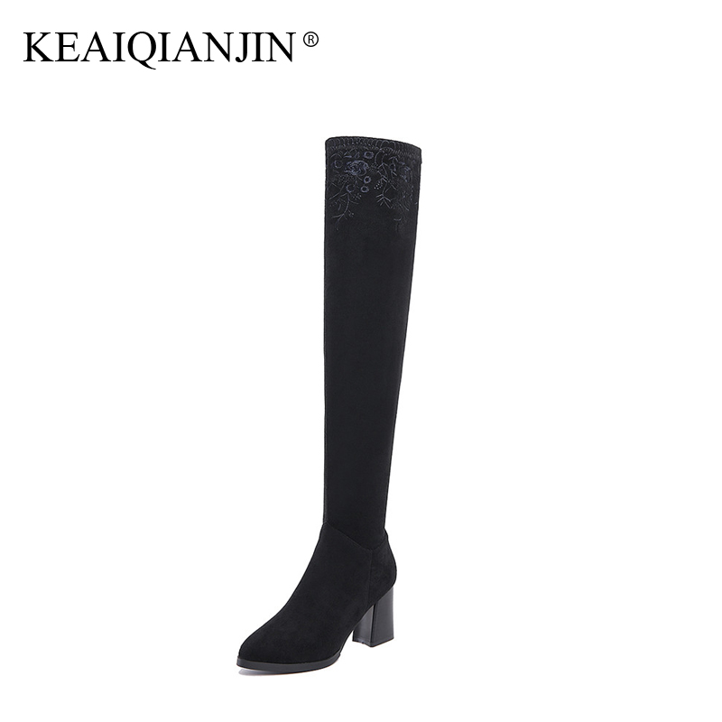 KEAIQIANJIN Woman Genuine Leather Over The Knee Boots Embroider Black Brown 33 - 41 Winter Shoes Genuine Leather Knee High Boots genuine leather